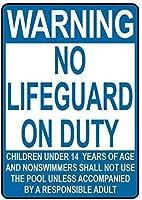 アルミニウム金属看板おかしい警告ライフガード義務14歳未満の子供なし有益な目新しさ壁アート垂直