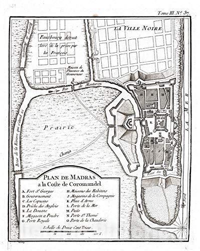 Historic Wall Map : India, Asia 1764 Plan De Madras a la Coste de Coromandel, Vintage Wall Art : 44in x 55in