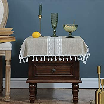 Newisher 2PCS Small Square Coffee Cotton Linen Fabric Tablecloth with Tassels Heavy Weight Kitchen Dinning Living Room Bedside Table Cover Home Tabletop Decoration 24x24 inch