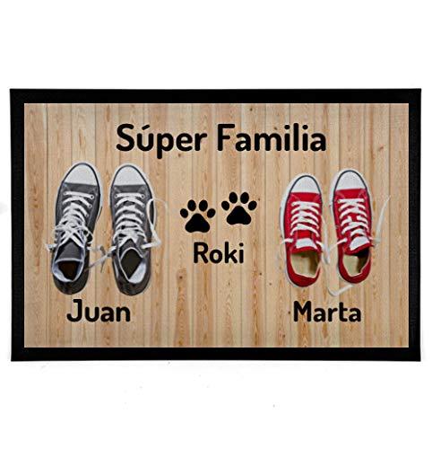NANNUK - Felpudo Personalizado Goma Familia 2 + Dog
