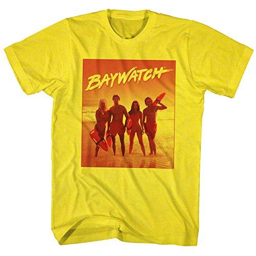 2Bhip Vigilantes de la Playa 90 Playa Serie Dramática BR Camiseta para Hombre Grande Amarillo