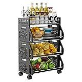 Cesta almacenamiento frutas, estante para carrito frutas y verduras apilable con ruedas 4 niveles, organizador almacenamiento para cocina, armario de despensa, dormitorio, baño