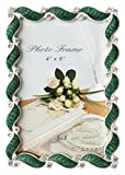 L&T Waves Design Green Enamel Picture Frame Metal with Silver Plated and Crystals 4x6 inch