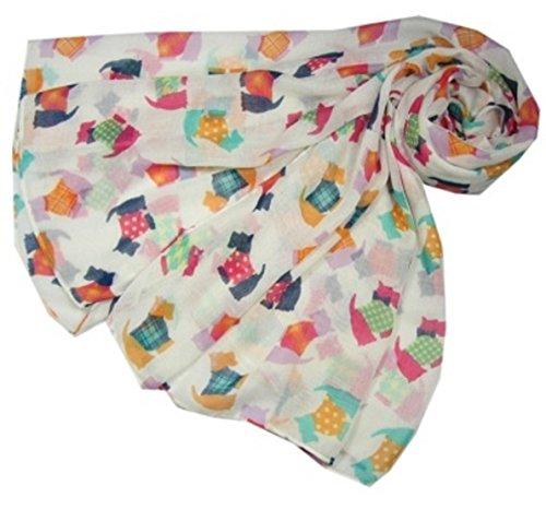 Nieuwe Dames Wit Oversized Scottie Hond Print Sjaal Wrap Gift