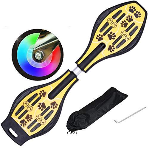 Yinuneronsty Schlange Bord Platte Caster Board Mit Werkzeug Und Luminous Räder, Hochflexible Schiebe-, Empfindliche Lenkung, Für Kinder/Männer/Frauen/Anfänger (87 * 23Cm)