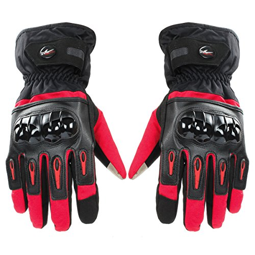 GES Hommes En Plein Air Gants Imperméables Moto Automne Hiver Gants Chauds Complet Doigt Moto Écran Tactile Racing Motocross Gants En Cuir (M, Rouge)
