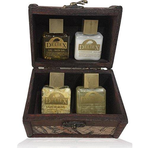 Regalo de baúl cosmética de madera y decoración de mapas con gel de baño, acondicionador, champú y sales de baño (Pack 24 ud): Amazon.es: Hogar