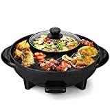 2 in 1 Electric BBQ Hotpot Korean Style Non Stick Coating Surface Smokeless Double Layer Barbecue Raclette Grill Griddle Plate Pan with Glass Lid for Tandoor Veg-Non Veg Cooking Grill Pan