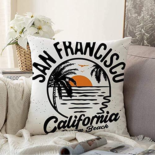 N\A Fundas Decorativas para Cojines Funda de cojín tee Paradise Beach Party Surfing Sport Wave Gráfico Sunset Tabla de Surf Diseño Vintage Tablero Retro Funda de Almohada para sofá