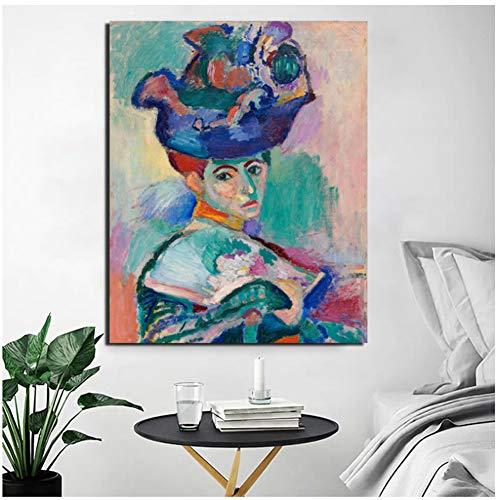 dubdubd Henri Matisse Frau mit einem Hut Leinwand Malerei Wohnzimmer Home DecorationWandkunst Malerei Poster Bild -60x80cm Kein Rahmen