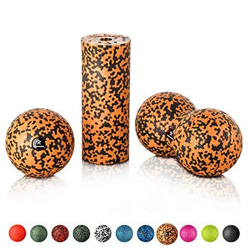 BODYMATE Faszien Mini-Set Schwarz-Orange - Mini-Faszien-Rolle L15xD6cm, Ball D8cm und Duo-Ball D8cm im Set