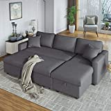 AUKUYEE Reversible Sleeper Sectional Sofa Bed with 2 Pillows,Storage Space, Gray