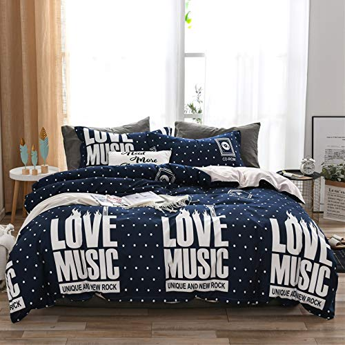 Bedding 2/3 Pieces Of Pink White Black Purple Heart Letters Starry Sky Printing Pattern Duvet Cover With Zipper + Pillowcase (Colorful3,200x200 cm)