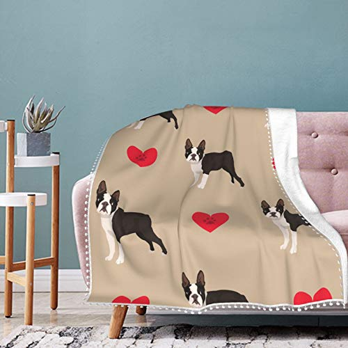 Alysai Dog Boston Terrier Colorful with Hearts Blanket,Fluffy Blanket,Bed Throw Blanket,Cozy Blankets For Kids,Couch Blanket,Thick Fleece (Twin) 80'x60'