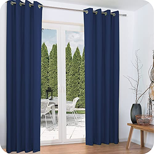 Beautissu 2er Set Gardine Thermovorhang Amelie 140x245 cm Ösen-Schal Vorhang Blickdicht & Verdunkelung - isolierende Thermogardine Ösenaufhängung Blau