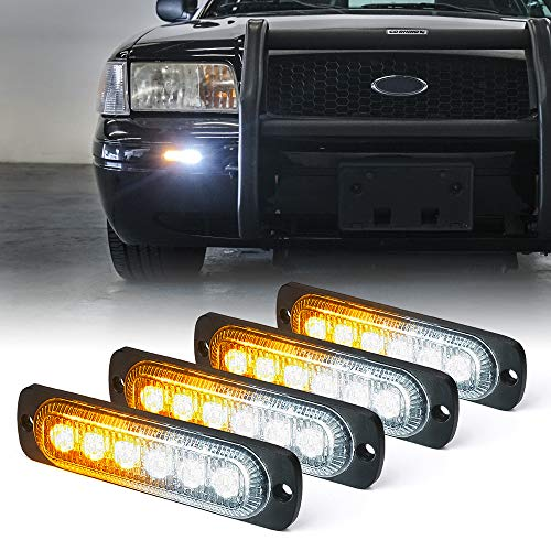 Xprite Amber/White 6 LED Emergency Strobe Lights Kit Surface Flush Mount Side Marker Grill Grille Hazard Warning Light Head 18 Flashing Modes for Off-Road Vehicles ATV Trucks Cars - 4Pcs