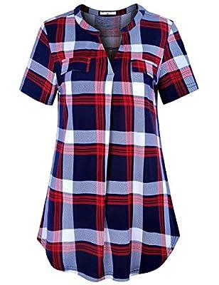 Derminpro Women's V Neck Long Sleeve Zip up Fake Pockets Casual Shirt Blouse Tops