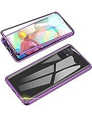 Jonwelsy Funda para Samsung Galaxy A51, 360 Grados Delantera y Trasera de Transparente Vidrio Templado Case Cover, Fuerte Tecnología de Adsorción Magnética Metal Bumper Cubierta para A51 (Morado)
