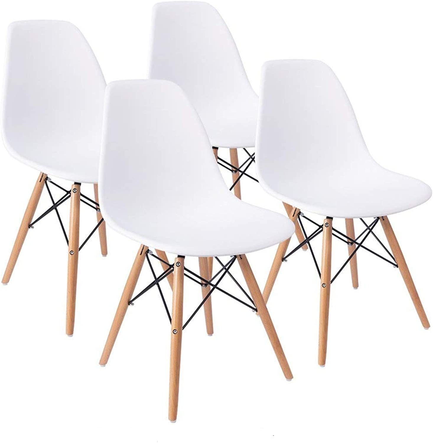 COMFORTA BLE Plus Set of 4 Dining Room Chairs Eiffel DSW Dining Bedroom Kitchen Weiß Retro Plastic Seat and Wooden Legs