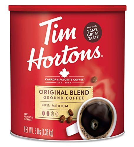 Tim Hortons Original Blend, Medium Roast Ground Coffee, 100% Arabica, 48 Ounce Canister