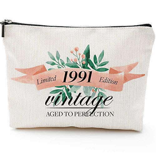 Gifts for Women Turning 30, Funny 30th Birthday Gifts for Women-Makeup Bag-1991 30 Year Old Present Ideas for Mom Aunt Friends Bestie