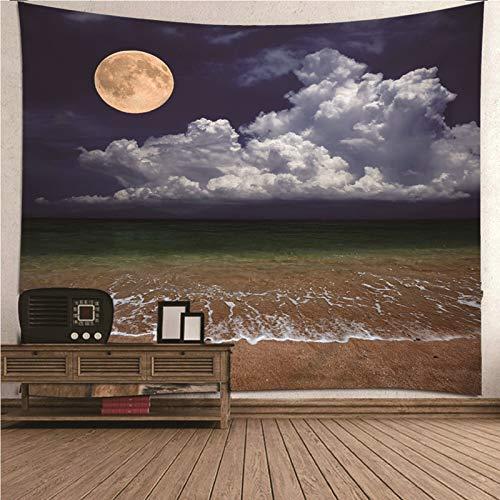 Aimsie Tapiz de pared Moon Sea Beach para habitación de los niños, poliéster, decoración multicolor, 300 x 260 cm
