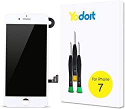 for iPhone 7 Touch Screen Replacement - Yodoit LCD Display Digitizer Glass Full Assembly with Small Parts Camera Proximity Sensor Earpiece Speaker 3D Touch + Tool (4.7 inches White)