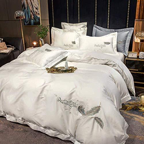 Set de edredón bordado Doble  4 piezas Conjunto de cama  ultra suave cama de microfibra for niñas adolescentes dormitorio algodón de fibra larga ropa de cama Edredón cubierta de la luz, cama de 4 pi