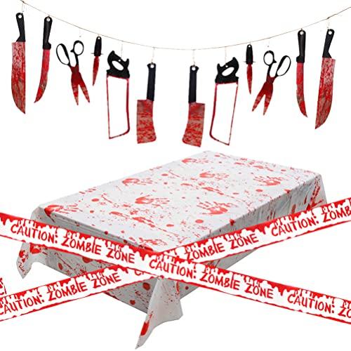 Decoración Halloween Terror, 12 Piezas Halloween Sangriento Decoración de Armas, Cinta...