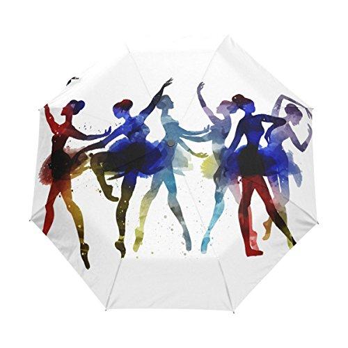 naanle Ballerina Dancing Watercolor Auto Open Close faltbar winddicht Reise Regenschirm