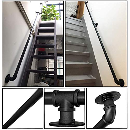 Wall Handrail 9ft Section for Stairs Steps -Dark Iron-Easy Install for Outdoor Indoor Stairs Porch Deck Hand Rail (Black)