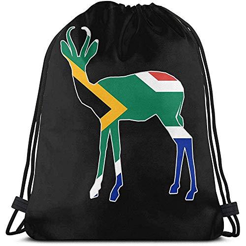 BOUIA Unisex Drawstring Bag Südafrika Flagge Springbock Rucksack Sport Gym Schultasche