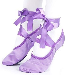 Niños y Adulto Danza Ballet de Niña Zapatos Satén Gimnasia Planos Doble Suela con Lazo - Morado, 33