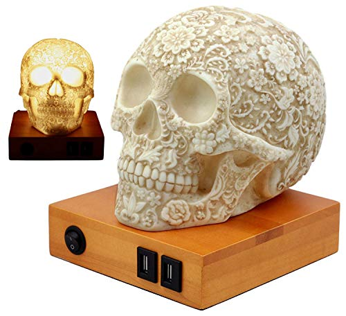 Ebros Gift Day of The Dead Floral Skull Lamp Table Lamp Figurine with 2 USB Charging Ports & LED Lightbulb