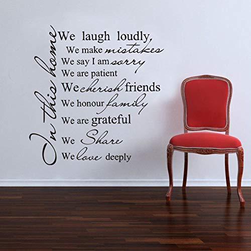 """KDSMFA Family Rules\""""in This House we Laugh Loudly\"""". Pegatinas de pared de vinilo con citas de casa para decoración de la sala de estar del hogar"""