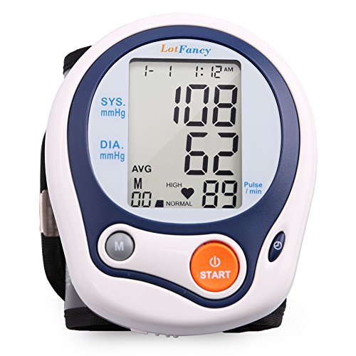"""LotFancy Blood Pressure Monitor Wrist Cuff, BP Wrist Cuff(5""""-8""""), 60 Reading Memory, Automatic Digital Blood Pressure Monitor for Irregular Heartbeat Detection, BP Machine for Home Use, Case Included"""