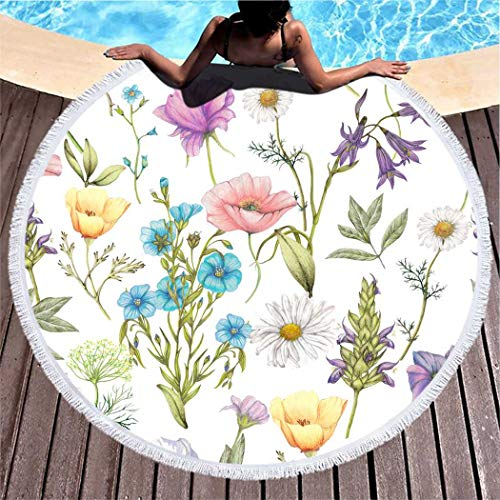 Kuidf Wildflower Beach Towel Flower Art Artistic Artwork Beauty Bloom Large Round Beach Towel Blanket, Microfiber Roundie Tapestry Yoga Mat Towel for Women Man, 39 Inches