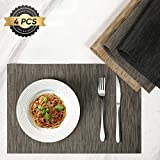 HOKEKI Placemats,Washable Vinyl Heat Resistant Table Mats,Non-Slip Wipe Clean PVC Placemats for Dining Table Sets of 4 (Grey-Black)