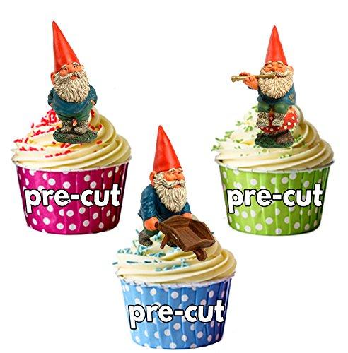 Nain de jardin prédécoupé – Décorations comestibles pour cupcakes/gâteau (lot de 12)