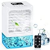 Portable Air Conditioner Fan, Personal Mini Air Conditioner Small Air Cooler Desk Fan with Remote Controller, Timer, Handle, Quiet Air Circulator Humidifier Misting Fan for Home, Office, Room - White
