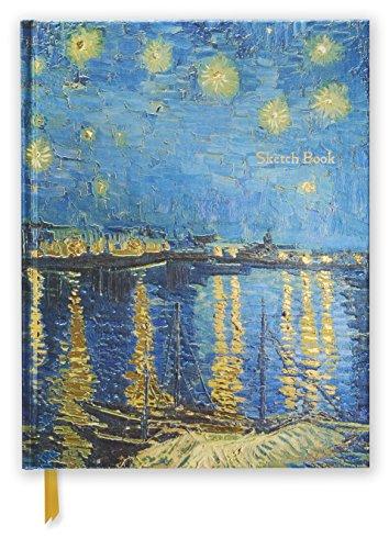 Premium Skizzenbuch: Vincent van Gogh, Sternennacht über der Rhone: Unser hochwertiges Blankbook mit festem, künstlerisch geprägtem Einband im Format 28 cm x 21,6 cm