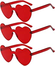 KESYOO 3pcs Red Love Heart Shape Sunglasses Rimless Sunglasses for Mardi Gras Summer Party Beach Sunglasses