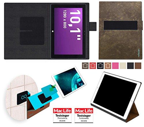 reboon Hülle für Terra PAD 1061 Pro Tablet Tasche Cover Case Bumper   in Braun Wildleder   Testsieger