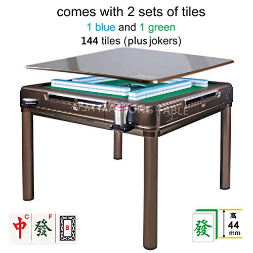 USAmahjongtable Automatic Mahjong Table Dining Table with 4 Legs - 中國超大尺寸手感牌 Chinese Style, Philippine...