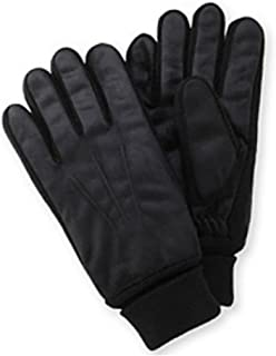 Mens Black Brushed Microfiber Gloves Thinsulate Lined With Cuffed Wrist