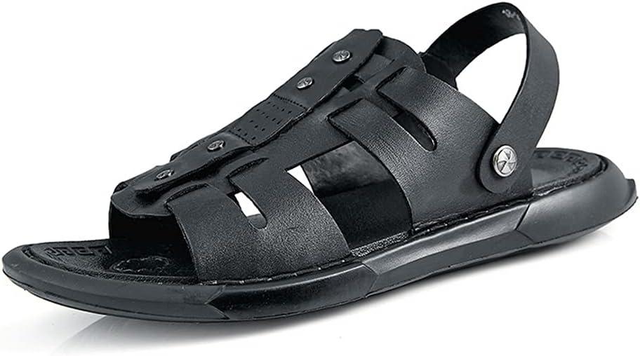 CSTZZ Men's Summer Dual Purpose Slipper Open-Toed Sandals Fashion Trend Beach Shoes Slippers Mens Sandals Summer Leather Flip Flop (Color : Black, Size : 40Yards)