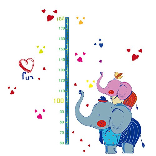 Winhappyhome Elephant Kids Height Measurement Chart Art Muraux Stickers pour Chambre à Coucher Salon Café-restaurante Décalcomanies Décor Amovibles