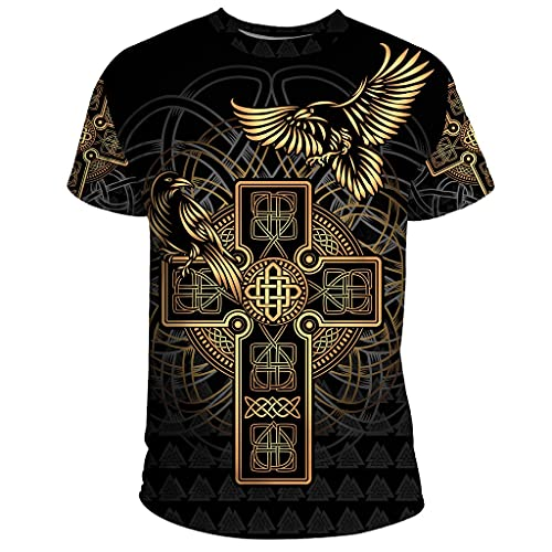 WYPAN Camiseta de Cuervo Pirata Nórdico, Camiseta Informal Unisex de Manga Corta con Tatuajes con Estampado 3D de Verano Vikingo para Hombre,Cross,L