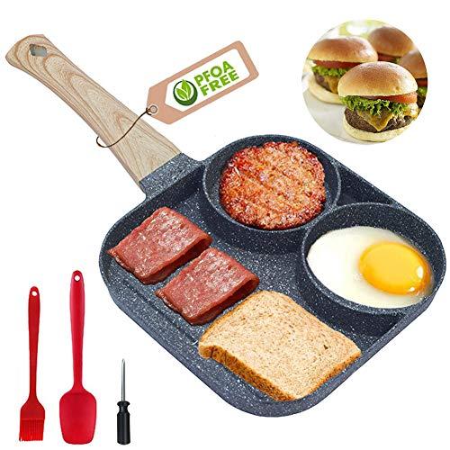 Sartén antiadherente – Sartén parrilla cuadrada de 3 secciones dividida para huevos fritos para desayuno, hamburguesas, filetes y tocino, apto para estufa de gas y cocina de inducción