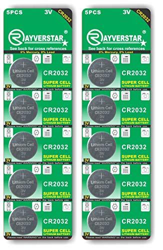 Rayverstar CR2032 3V Lithium Battery 10-Pack (2 x 5-Pack), Super Cell Technology, Long Lasting 3-Volt Batteries. Fits: BR2032, DL2032, SB-T15, EA2032C, ECR2032 (Full List Below)